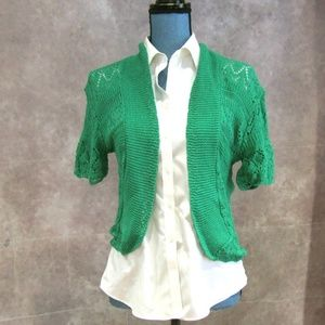 NEW Green Lace Knit Open Front Cardigan Shrug L